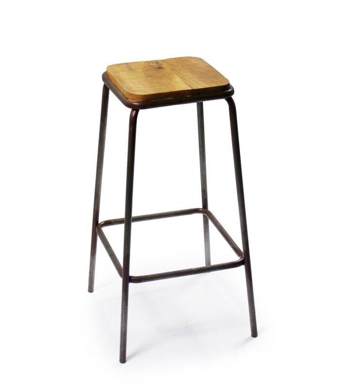 Tabouret de bar carré en métal et bois