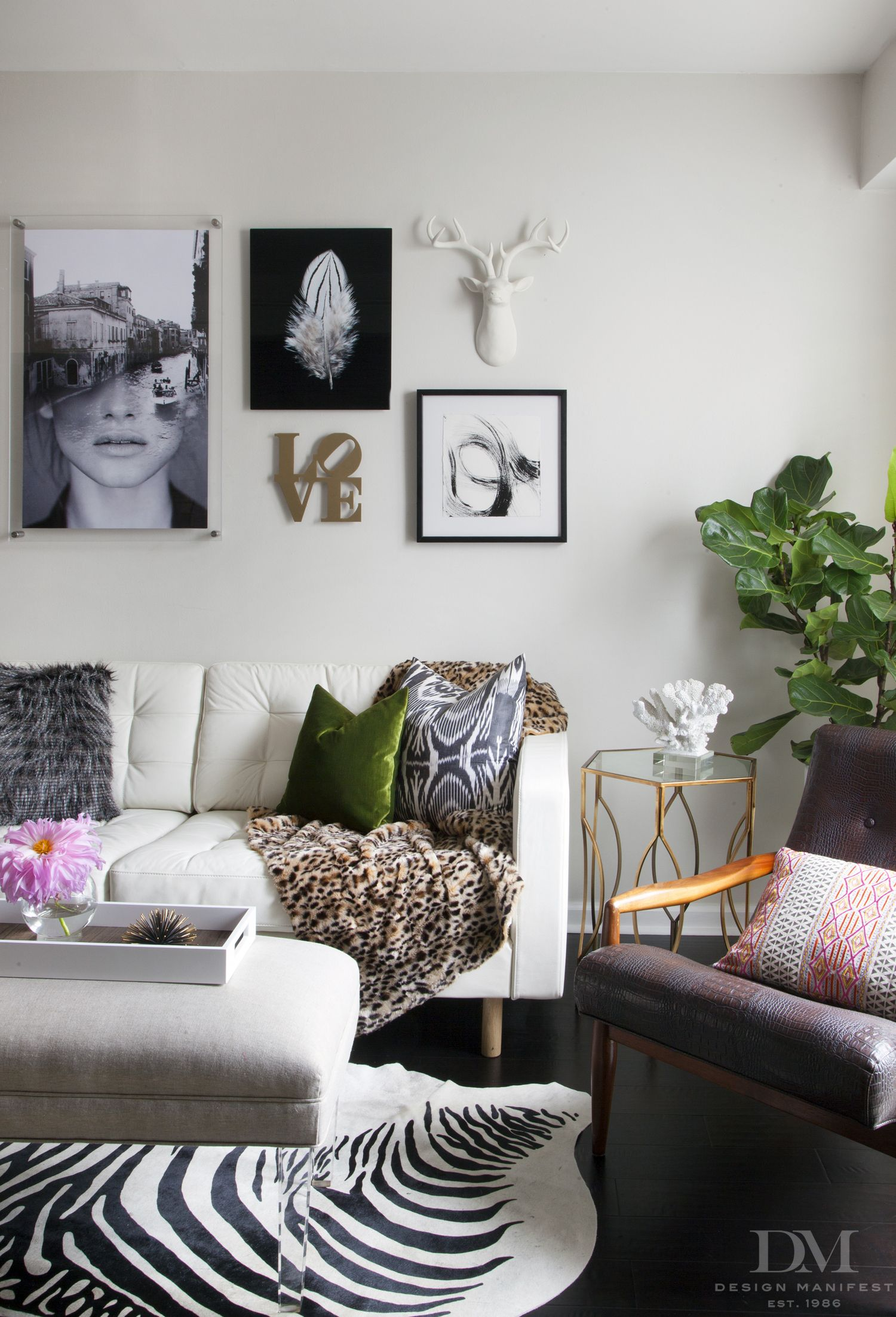 white leather chairs for living room wedding hire newcastle sofa with zebra art wall fiddle leaf fig lucite ottoman danish chair