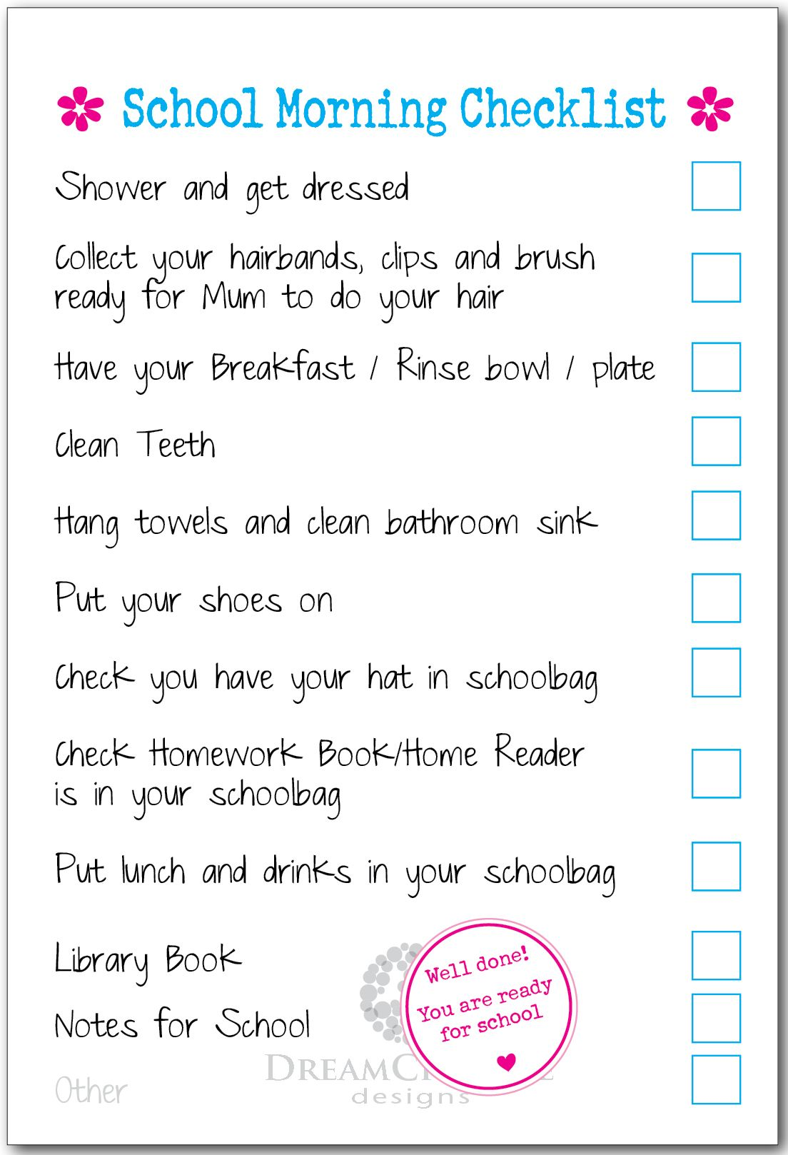 Boys and girls as is or customised to suit your morning routine and