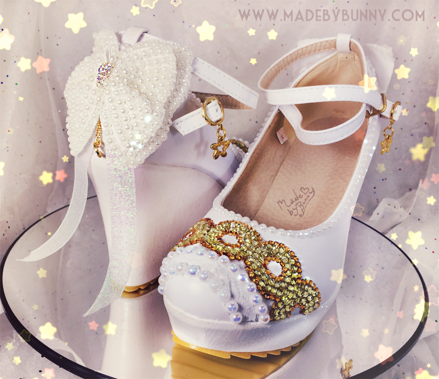 PRINCESS SERENITY | Sailor Moon | Bishōjo Senshi | Crescent Moon | Shoe Design for HEELS or WEDGES with Crystal Rhinestones, Glitter, Pearls, & Bows - Thumbnail 4