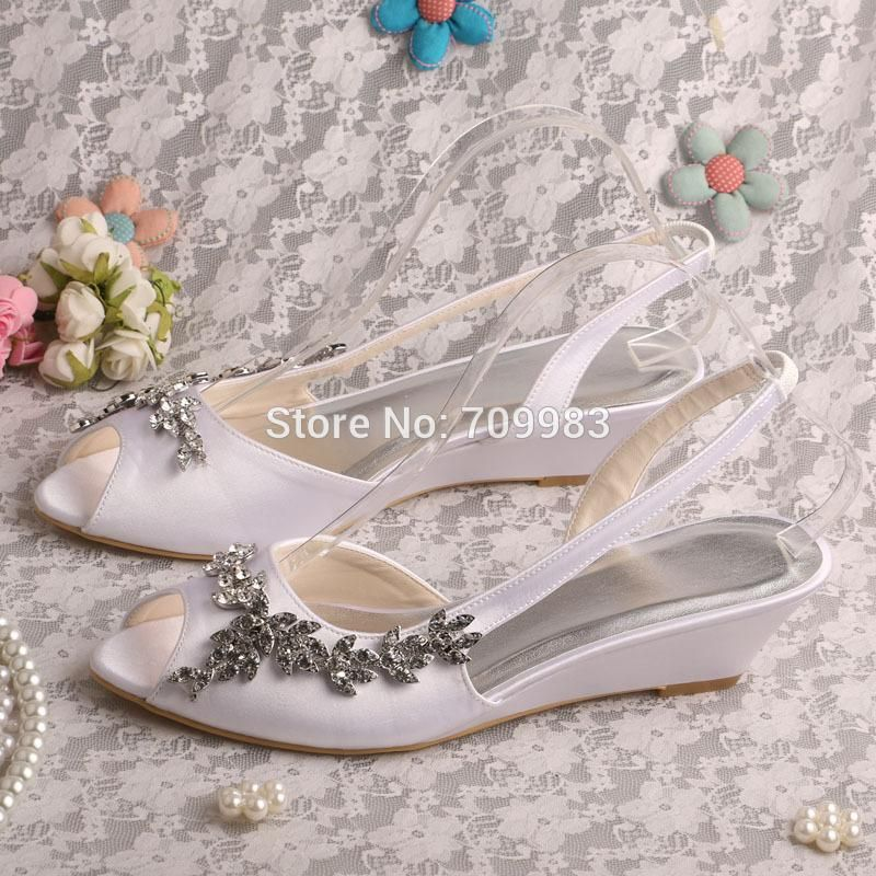 Custom Handmade White Sandals Wedding Low Wedge Heel 3.5cm Dropshipping Green Shoes Boots Shoes From Magicbride, $30.06| Dhgate.Com
