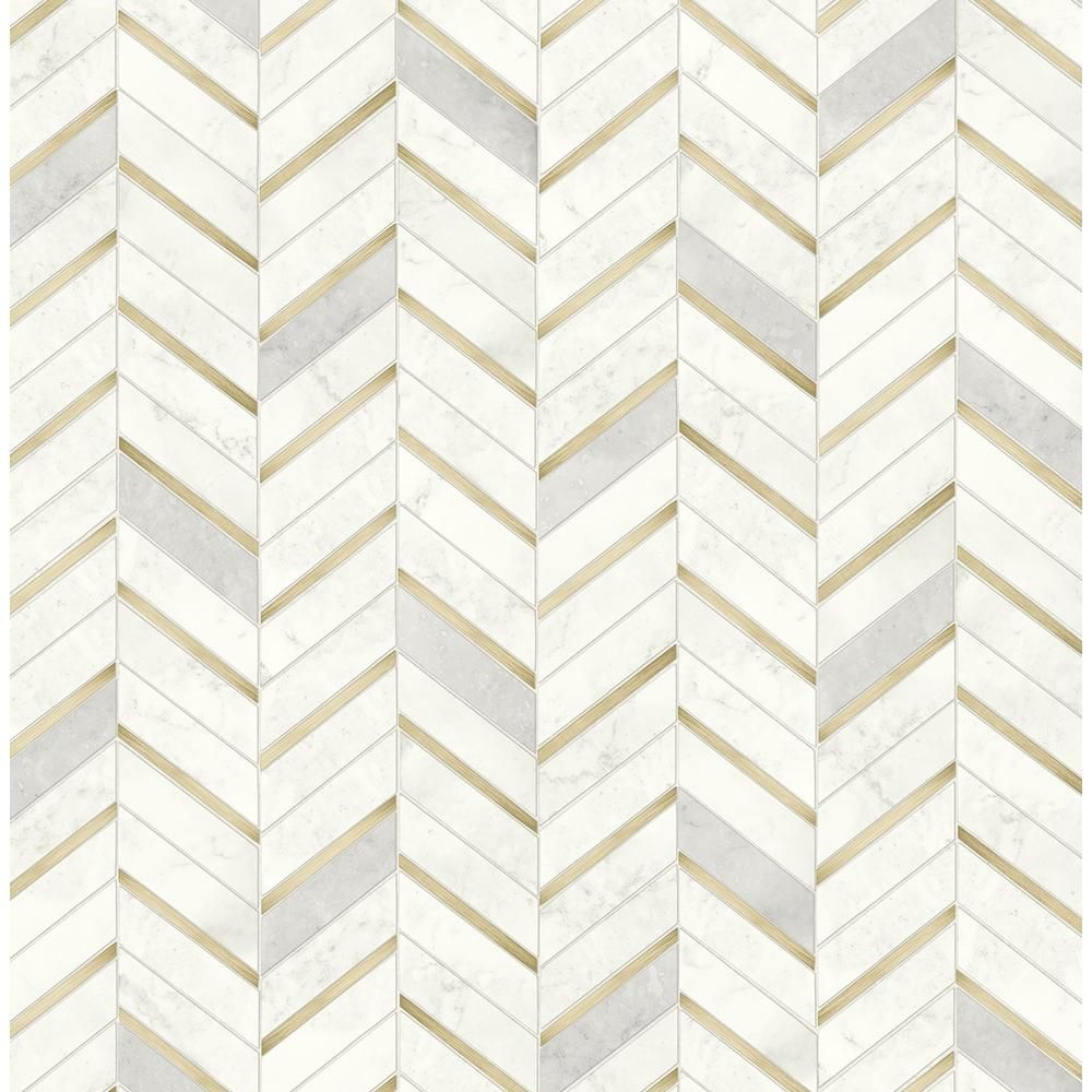 Nextwall Faux Metallic Gold And Pearl Gray Chevron Marble Tile Peel And Stick Wallpaper Covers 30 75 Sq Ft Nw39205 The Home Depot Peel And Stick Wallpaper Stick On Tiles Peel And