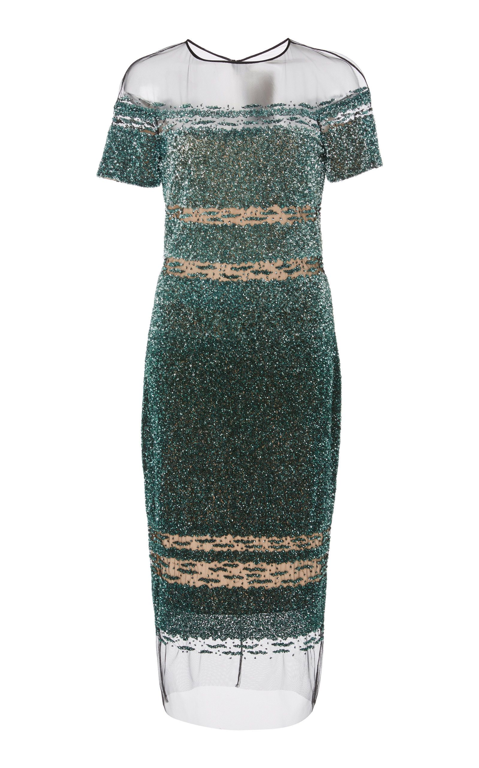 e38bc593866dc Signature Sequin Sheer Hem Dress by PAMELLA ROLAND Lace Skirt, Stripes,  Neckline, Short