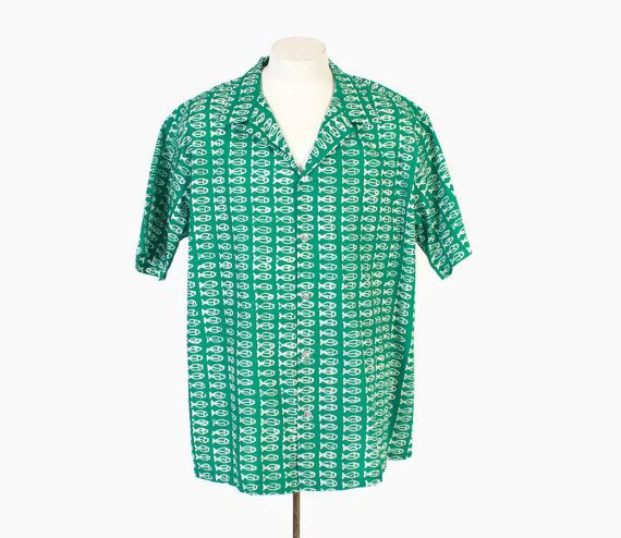 Vintage 60s hawaiian shirt 1960s men 39 s green batik fish for Fish hawaiian shirt