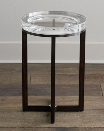 Extra Thick Acrylic Top With X Shape Stretcher Side Table