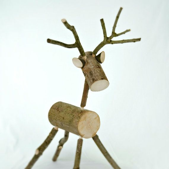 Christmas Deer Wood Reindeer Decoration Medium Size