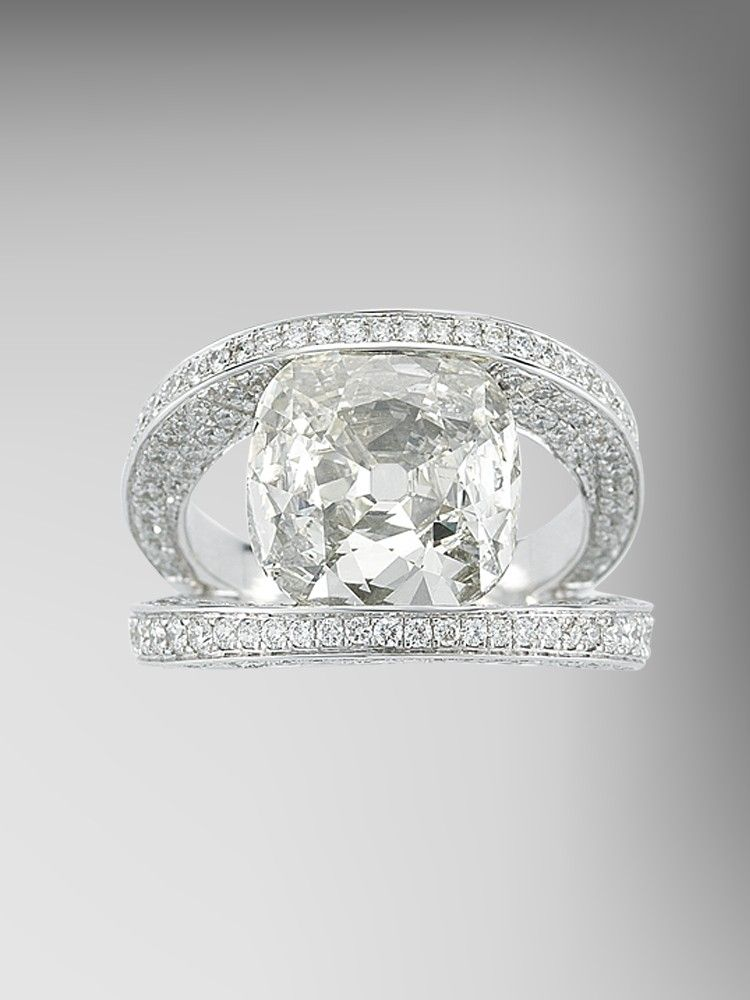 Cushion Cut Diamond Ring with Diamond Pave