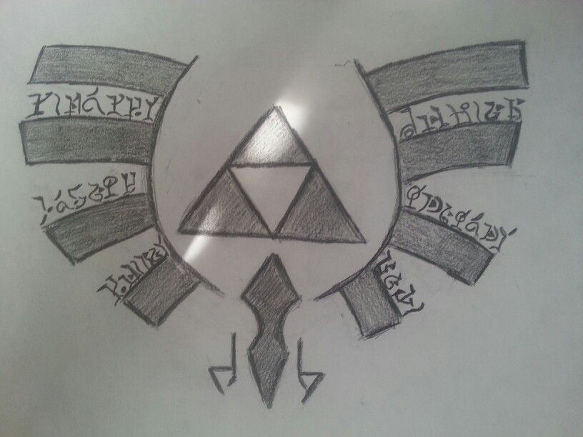 Zelda tattoo idea. Triforce symbol and all my siblings names in Hylian writing. (Not the best artist but I tried.)