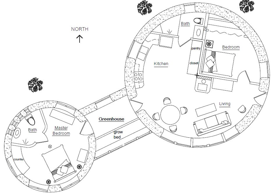 Two Roundhouses With Greenhouse Floorplan 2 Br 2 Bath Cob House Plans Round House Cob House