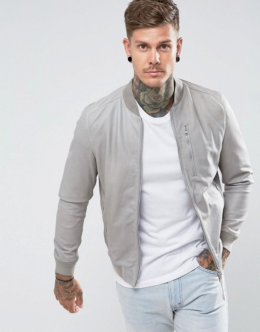 Get This Allsaints S Leather Jacket Now Click For More Details Worldwide Shipping Allsaints Suede Leather Jacket Men Suede Bomber Jacket Grey Bomber Jacket [ 1110 x 870 Pixel ]