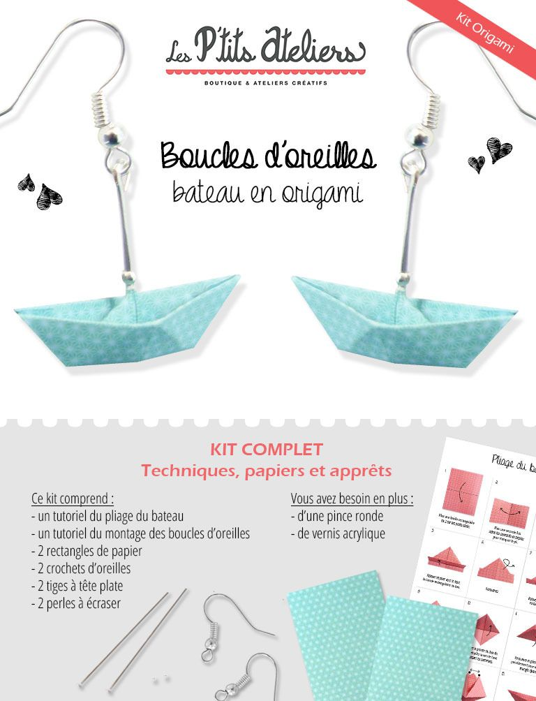 kit boucles d 39 oreilles bateau en origami kits tutoriels bijoux par les petits ateliers kits. Black Bedroom Furniture Sets. Home Design Ideas