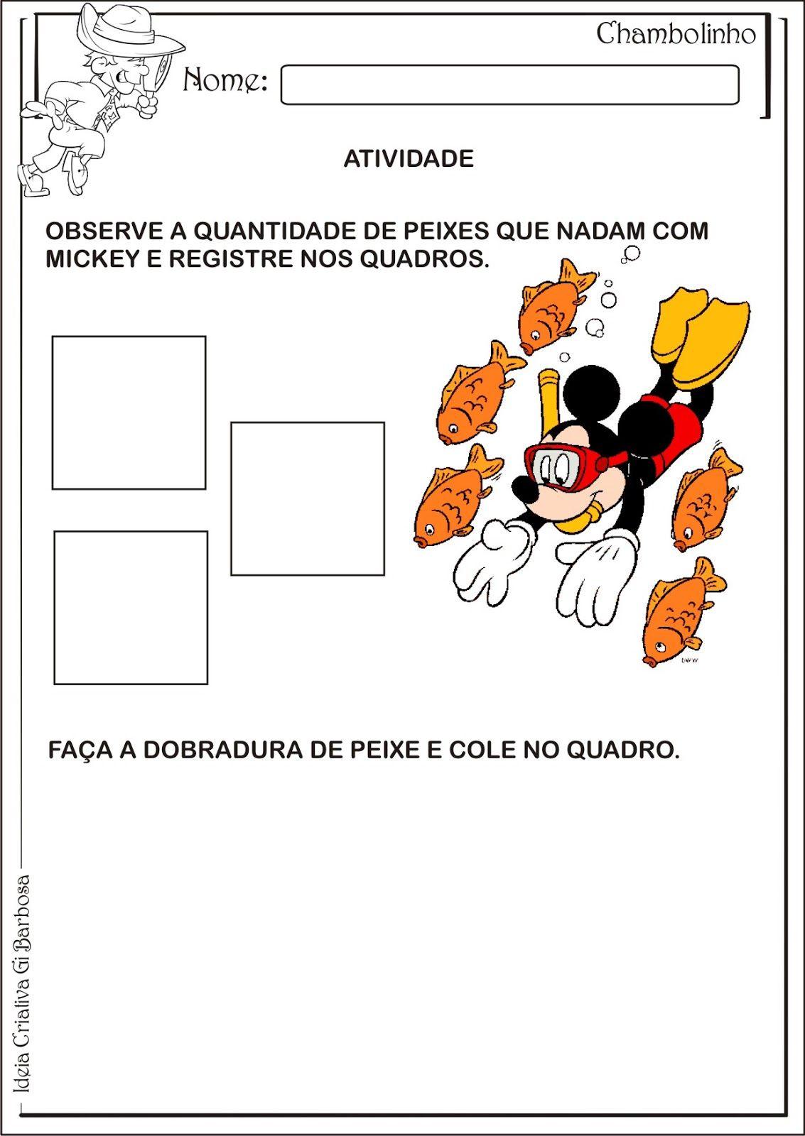 Atividade Temática Animais Aquáticos Dobradura | Ideia Criativa - Gi Barbosa Educação Infantil
