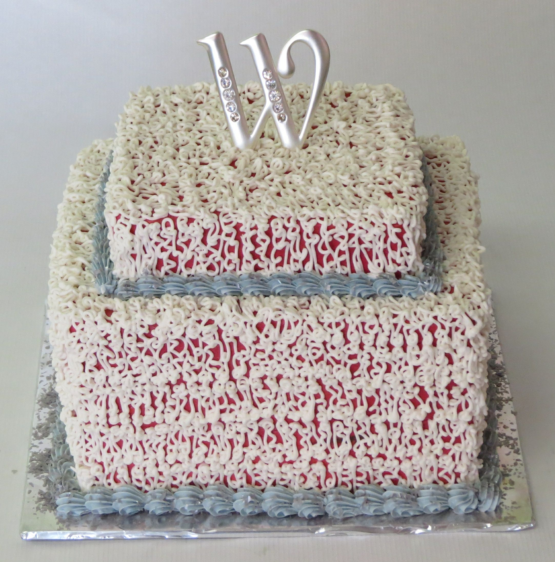 Small Square Wedding Cake White Chantilly Lace Over Red Weddingcake Simpleweddingcakes