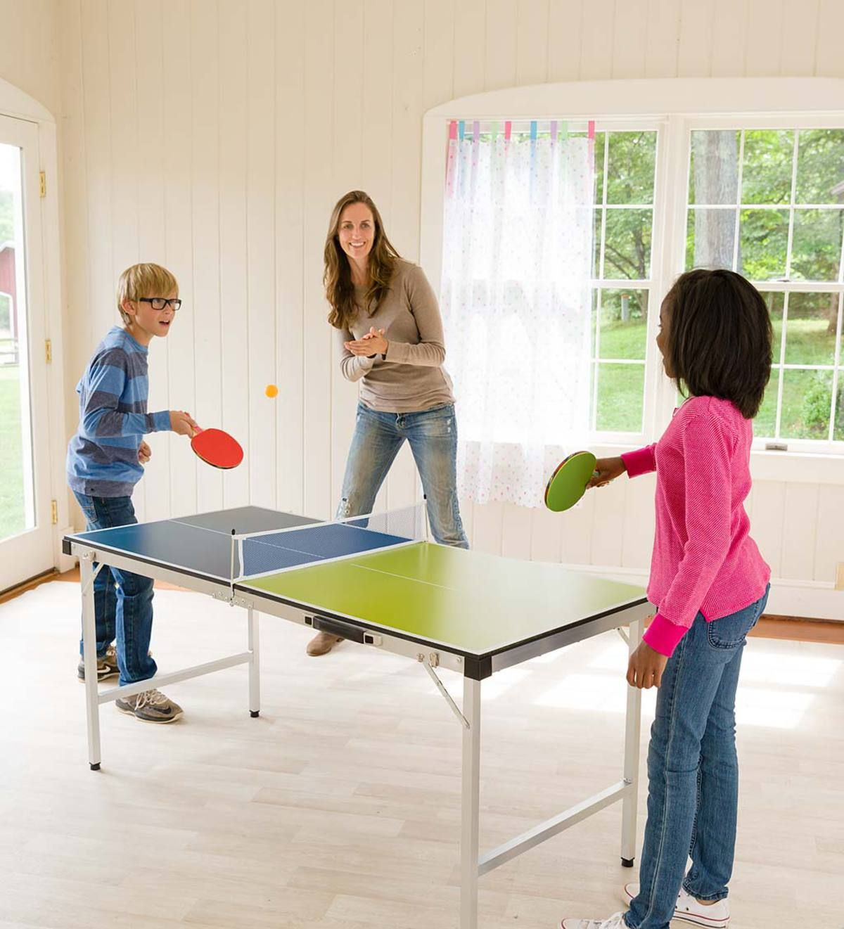 A Family Favorite Game Our Portable Pick Up And Go Table Tennis Looks Just Like A Real Ping Pong Table It Folds T Table Tennis Table Tennis Game Tennis Games