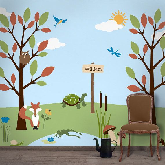 Forest Wall Mural Stencil Kit For Baby Or Kids Room Forest Wall Mural Mural Stencil Kids Wall Murals