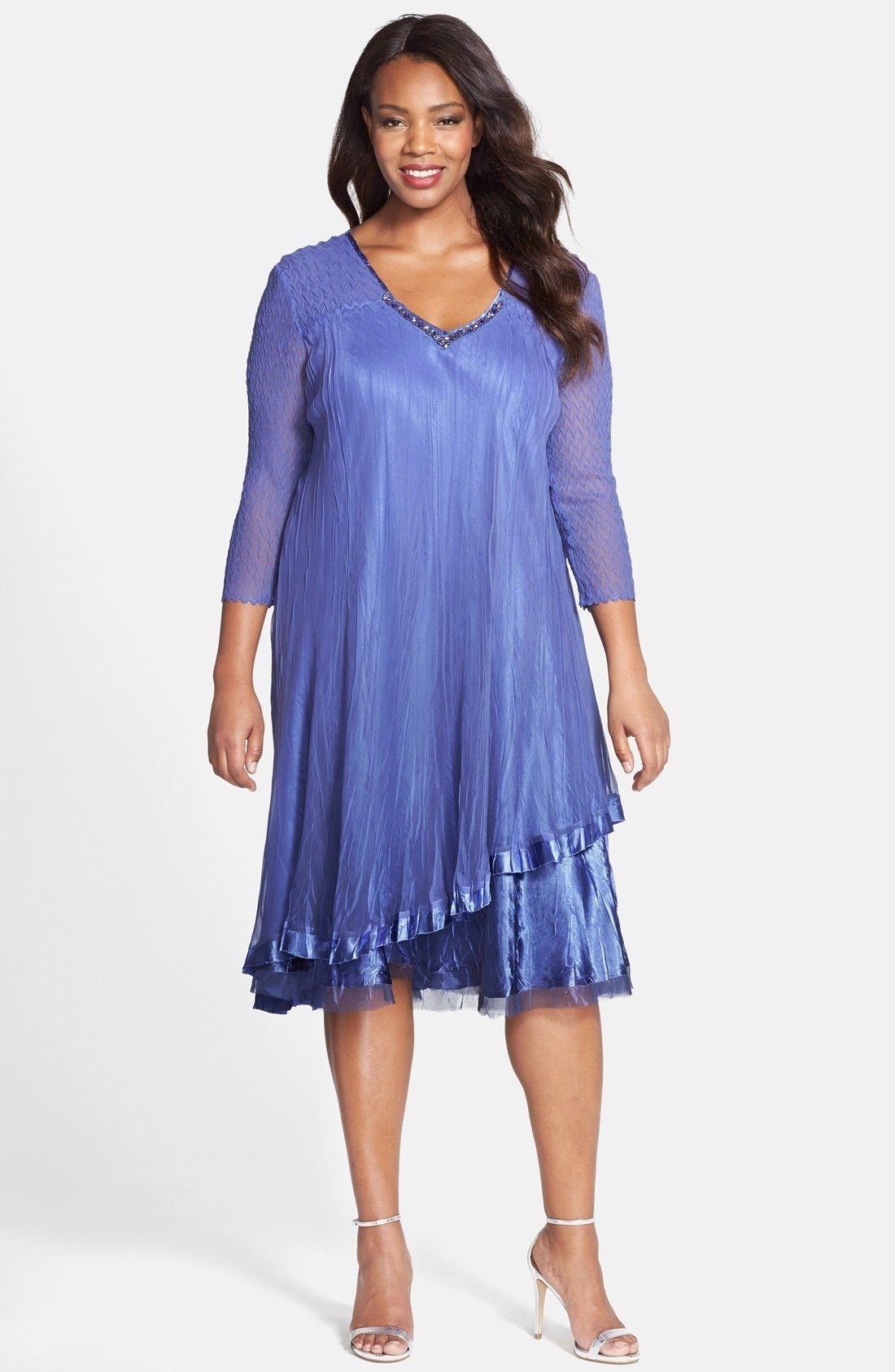 Komarov Embellished V-Neck Tiered Chiffon A-Line Dress (Plus Size ...