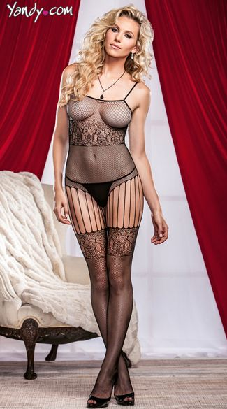3b661ebd5 Fishnet And Lace Crotchless Bodystocking and Stockings
