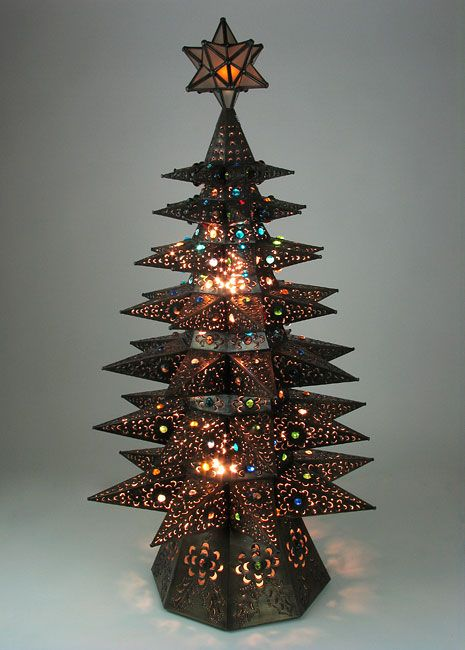 Lighted Punched Tin Star Christmas Tree With Marbles Aged Tin Metal Christmas Tree Mexican Christmas Christmas Tree