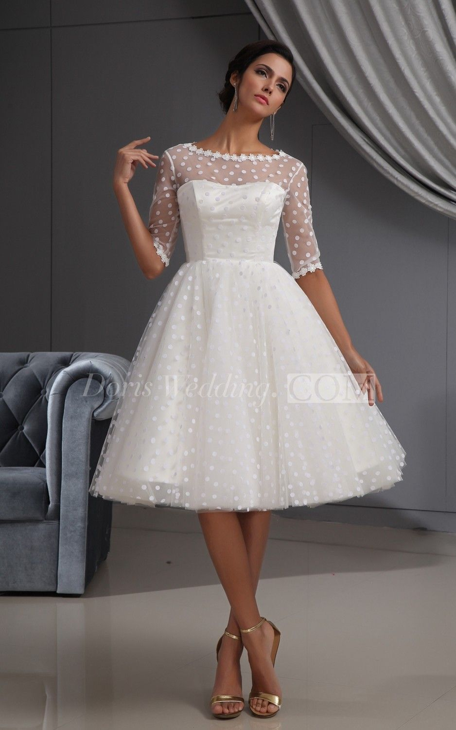 Half Sleeve Illusion Knee Length Short Dress With Lace And Dot Knee Length Wedding Dress Short Wedding Dress Lace Wedding Dress With Sleeves