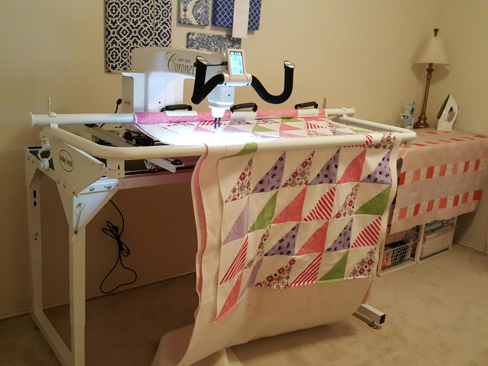 My new baby lock Coronet quilting machine and frame. Sept. 2016 ...