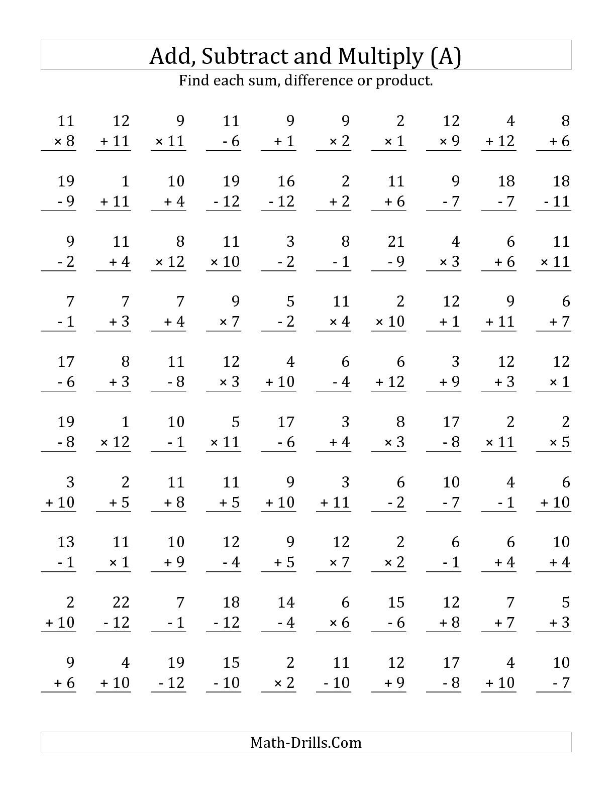 The Adding Subtracting And Multiplying With Facts From 1 To 12 A Math Worksheet From The