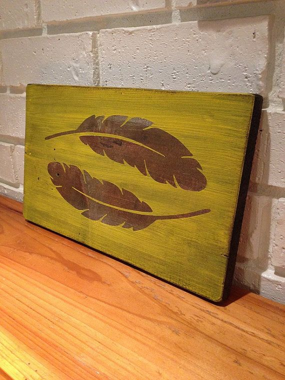 Stained and Painted Yellow Wooden Wall Decor with Feathers   Wooden ...