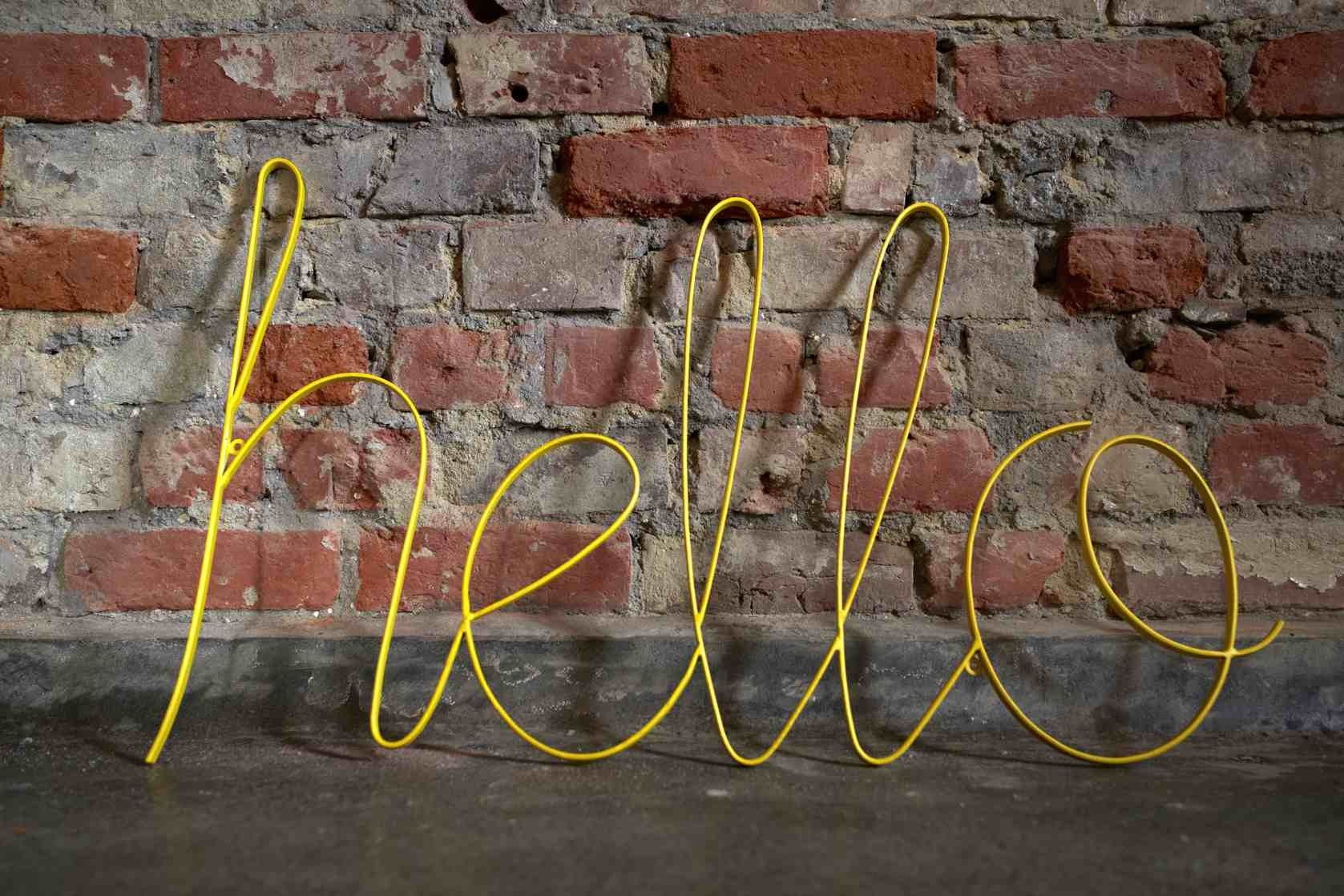 Big Yellow Hello Sign From Wire Use This In The Purple Bathroom The Yellow Will Pop Hello Sign Vintage Inspired Signs Girls Room Design
