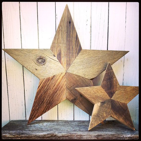 Wooden Star Wall Decor set of two rustic barn wood stars - wall decor - primitive wood
