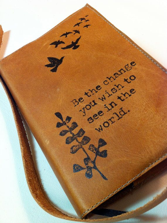 leather journal sketchbook custom handprinted for you be by inblue, $25.00