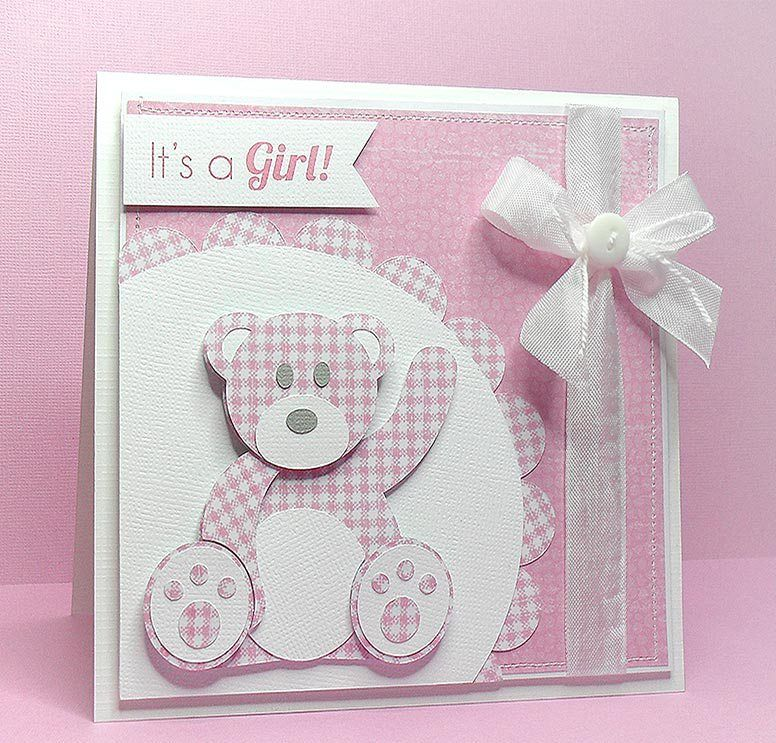 FREE SVG teddy card Baby cards handmade, Baby girl cards