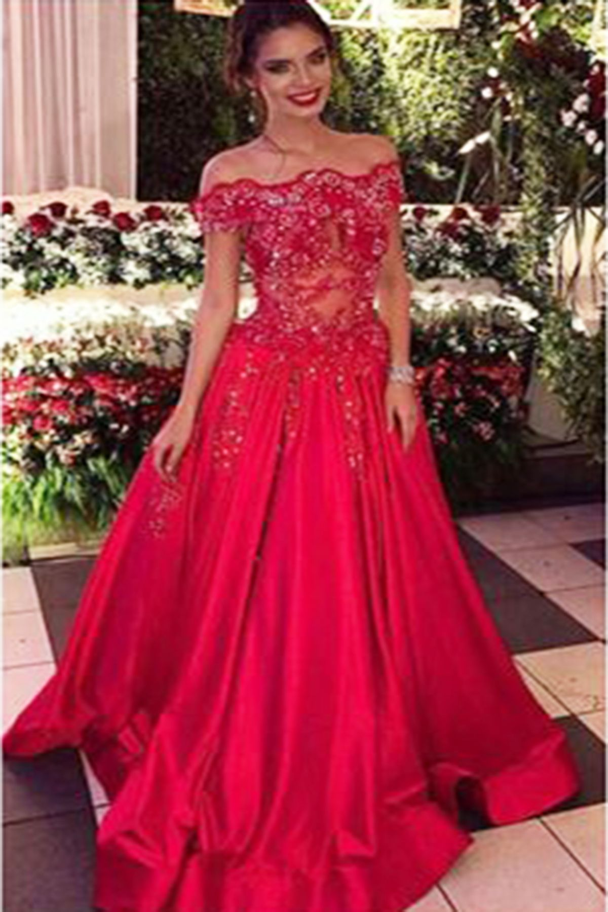 red tulle sequins off shoulder long sweet prom dresses prom