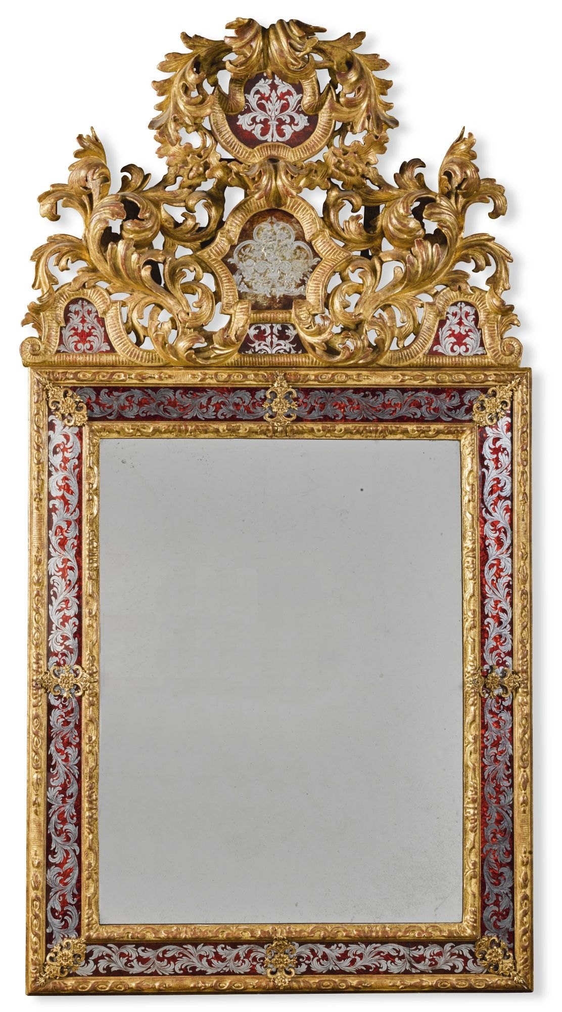 A Louis XIV style verre églomisé and carved giltwood mirror | The ...