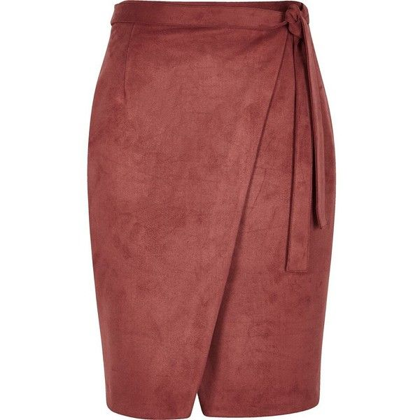 4aaf8828af River Island Rust brown faux suede wrap skirt ($70) ❤ liked on Polyvore  featuring skirts, brown, midi skirts, women, tall skirts, wrap front skirt,  ...