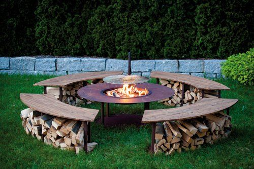 "Feuerstelle Outdoor Model ""Circle"" Set mit Grill und 4 Bänken in Edelrost"