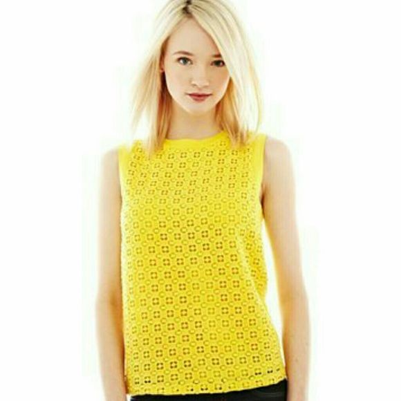 Joe Fresh Yellow Top Sunshine yellow color. The front is100% cotton, with a crochet/lace design. The lining, back, and trim is 100% Polyester. The back is also thin. Joe Fresh Tops