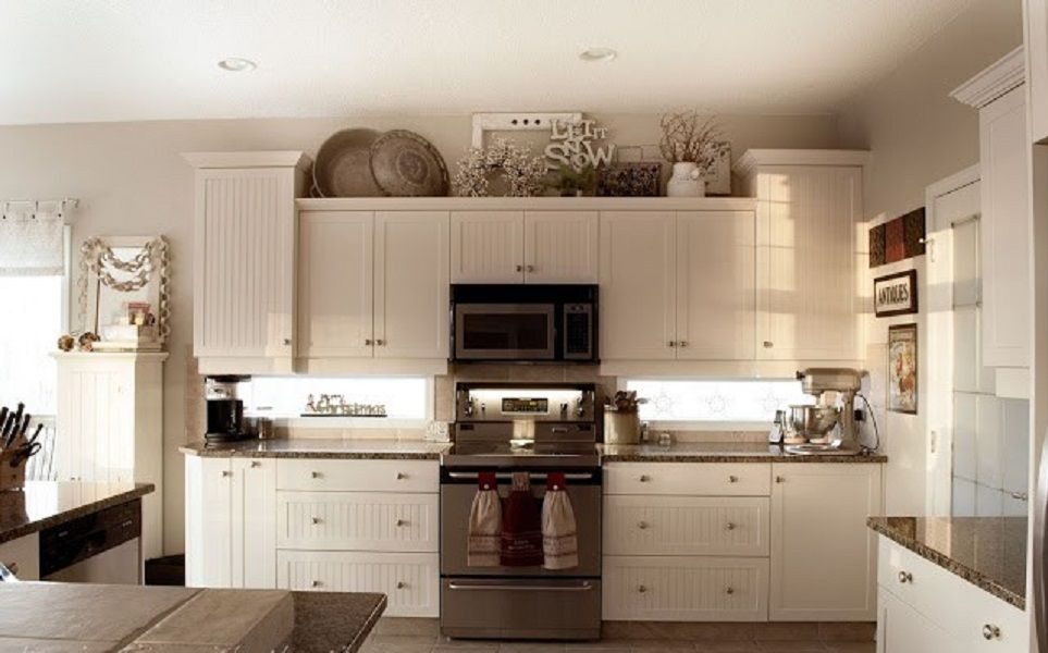 Best kitchen decor aishalcyon org ideas for decorating How to decorate top of cabinets