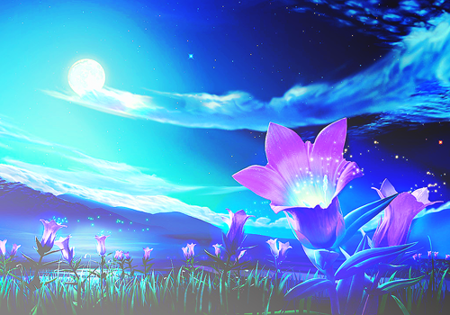 Anime Art Anime Scenery Field Of Flowers Lake Mountains Night Sky Moon Clouds Ethereal Anime Scenery Nature Wallpaper Scenery