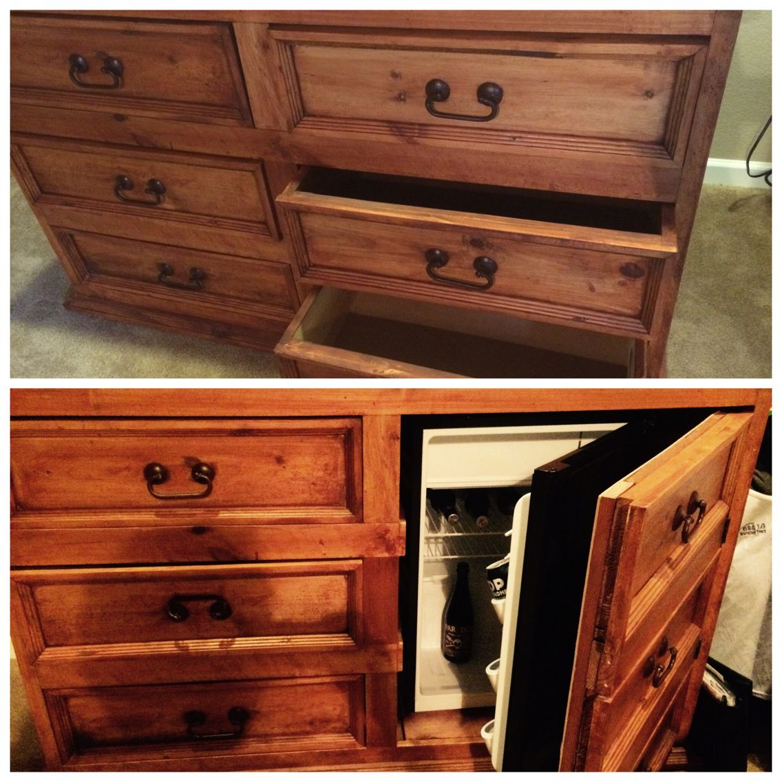 Dresser Turned Into Hidden Mini Fridge Bar. Kept The Drawers On The Left  Intact.