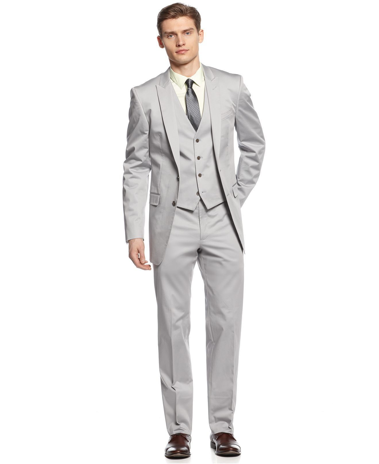 Calvin Klein X Suit Light Grey Vested Peak Big And Tall