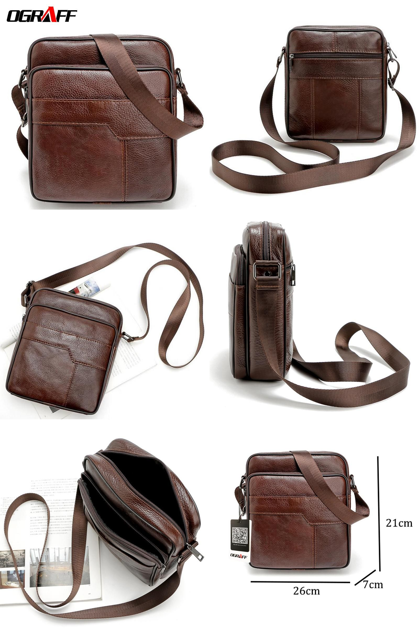 9dd91168f7  Visit to Buy  OGRAFF Men messenger bags genuine leather bag casual small  business vintage