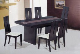 Unique Frosted Glass Top Modern Dinner Table Set Wood Dining