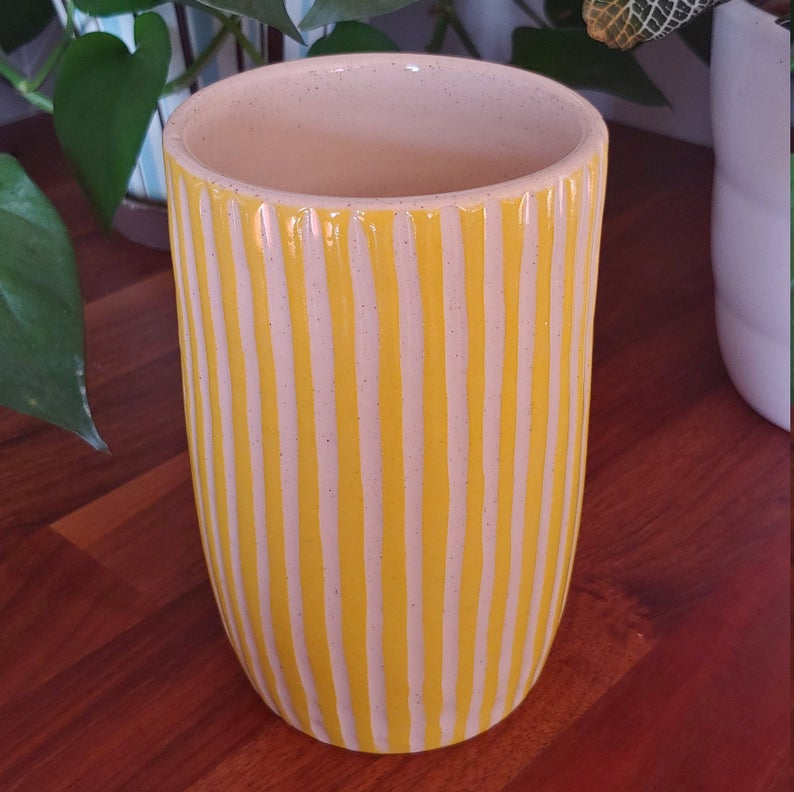 Yellow Striped Ceramic Vase in 2020 Ceramic vase, Yellow