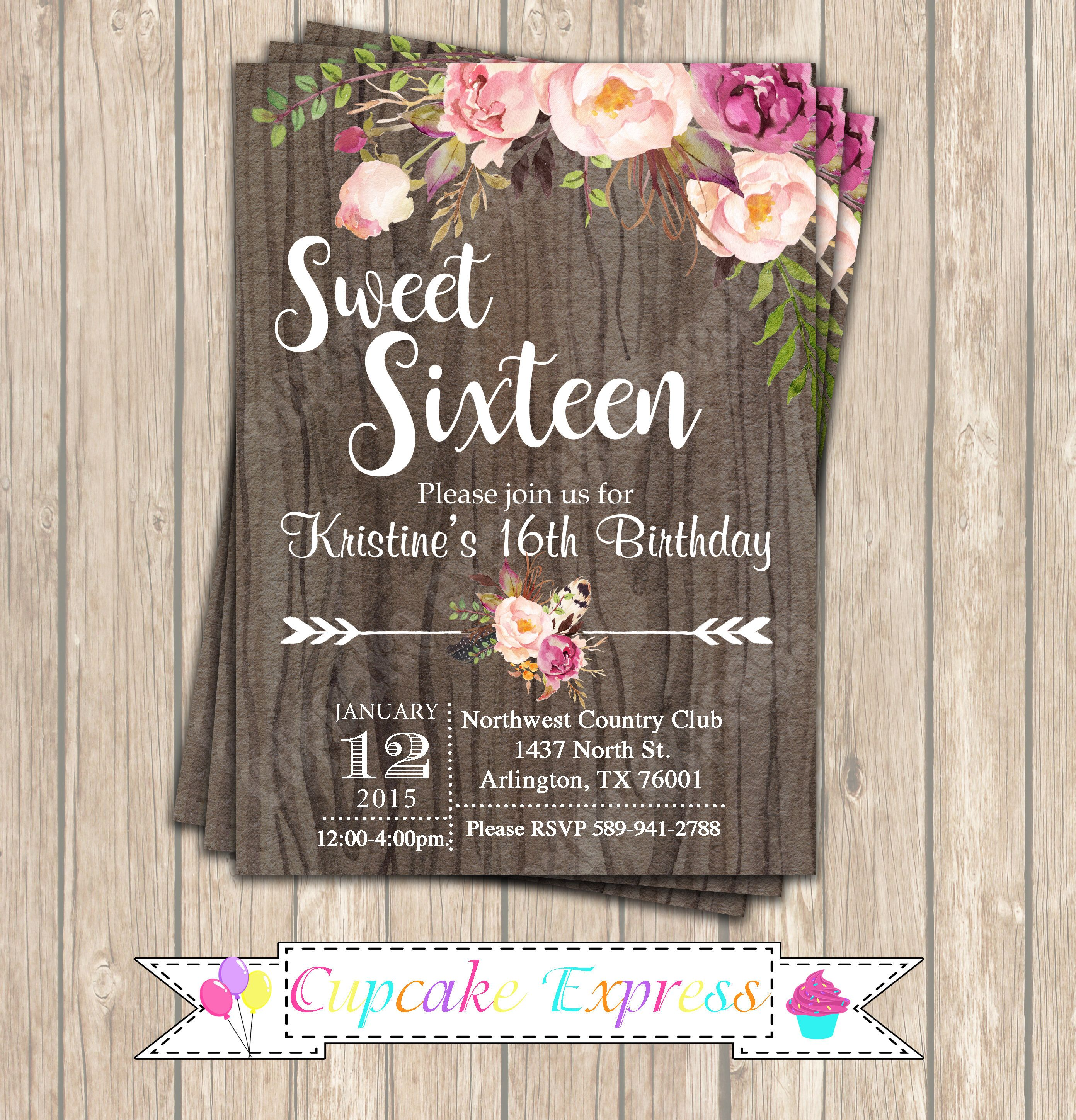 Sweet 16 Invitation, sweet 16 Birthday Invitation, sweet 16 ...