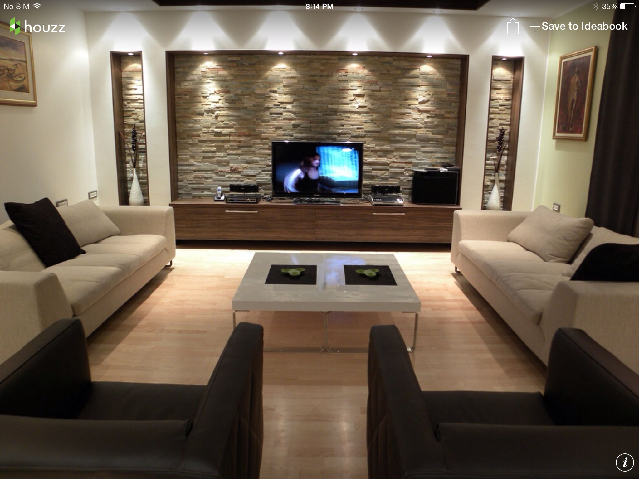 Modern living room wall decorations - Modern Stairs Fireplace And Designer Table