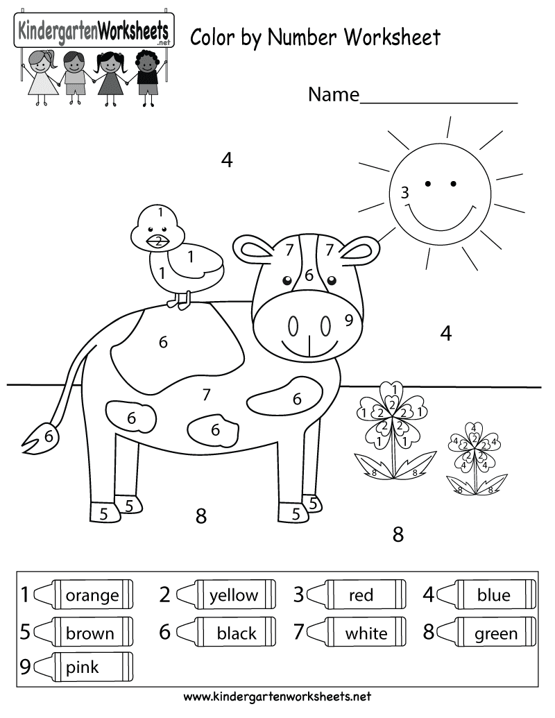 Color by Number Worksheets Preschool 1 Grade ...