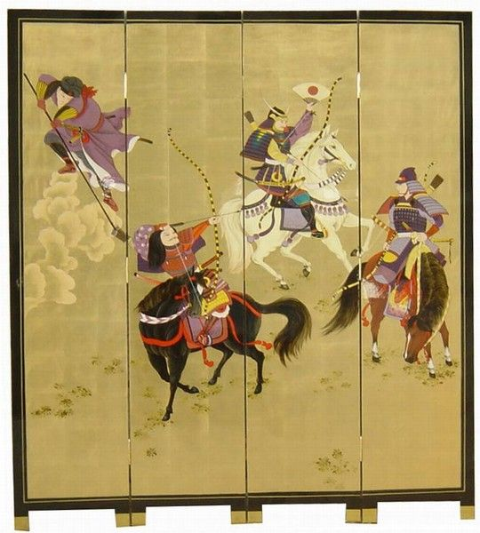 chinese screens room dividers | Oriental Golden 4 Panels Screen Room Divider  (Samurai) - Chinese Screens Room Dividers Oriental-Chinese-Lacquer-Room