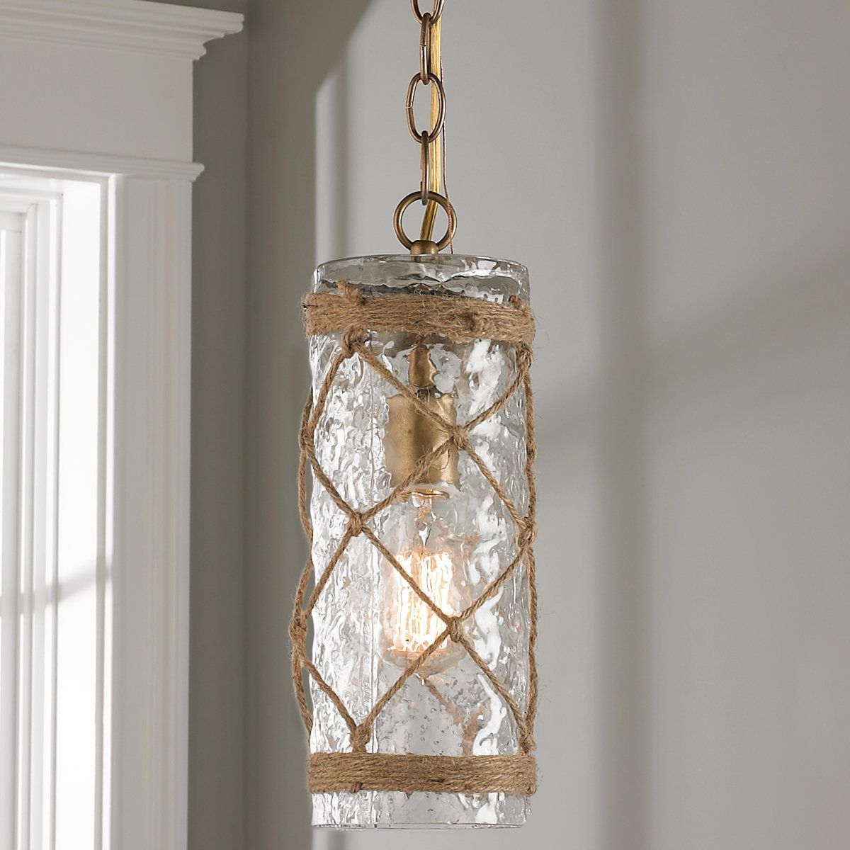 Rope And Glass Cylinder Pendant Beaded Chandelier Wood