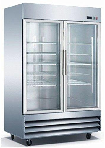 2 Door Glass Front Commercial Refrigerator Reach In