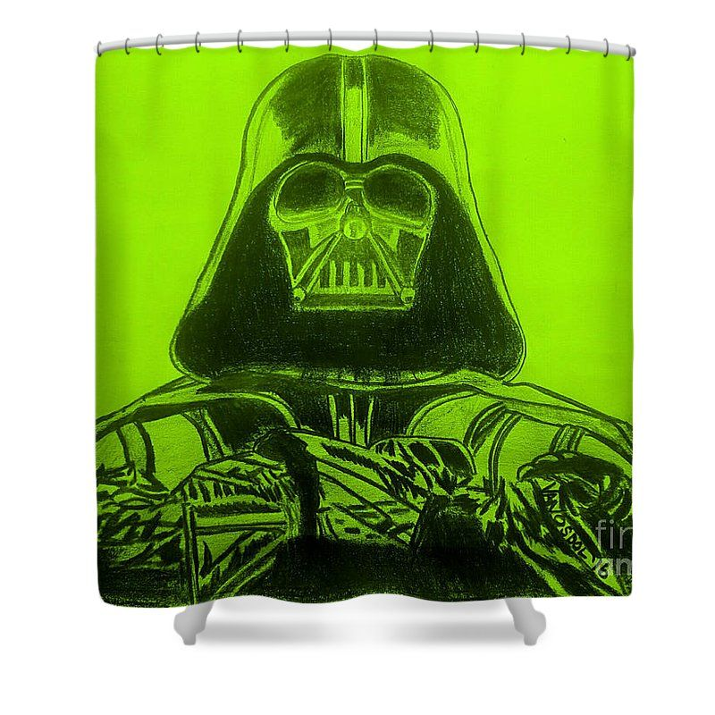 Darth Vader Rogue One Green Background Shower Curtain For Sale