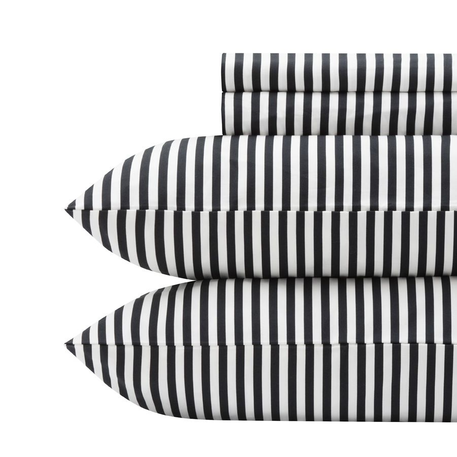 Black and white striped bed sheets - Marimekko Ajo Black Sheet Set Black White Stripe Sheets Want